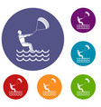 man takes part at kitesurfing icons set vector image vector image