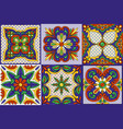 mexican talavera ceramic tile pattern ethnic folk vector image vector image