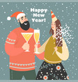 new year greeting card with cute funny couple vector image vector image