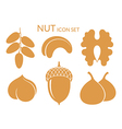 Nuts Icon set Isolated fruit on white vector image vector image