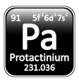 Periodic table element protactinium icon vector image vector image
