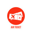 red icon or button airport tickets on plane vector image vector image