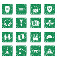 safety icons set grunge vector image vector image