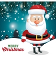 santa claus card merry christmas snowflake pine vector image