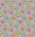 seamless pattern with cute wooden hearts vector image vector image
