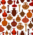 seamless texture with ethnic vases vector image