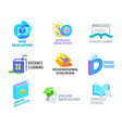 set distance learning banners or icons online vector image