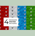 set realistic knitted patterns colored vector image vector image