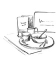 sketch breakfast plate of porridge and cup of vector image