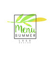 summer menu logo design badge for healthy food vector image vector image