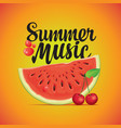 summer music banner with watermelon and cherry vector image