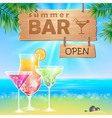 summer seaside view poster cocktails bar vector image vector image