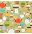 Tea pattern with teapots and cups vector image vector image