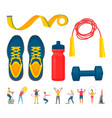 training equipment sporty people fitness vector image