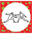 two fencing players with sword fighting vector image vector image