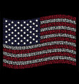 waving usa flag stylized composition of us text vector image vector image
