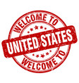 welcome to united states red round vintage stamp vector image vector image