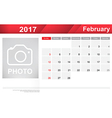 Year 2017 February month simple and clear design vector image vector image