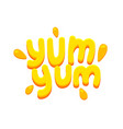 yum yum banner icon with yellow typography and vector image vector image