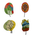 four stylized colored trees vector image