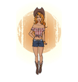 line art cowgirl vector image