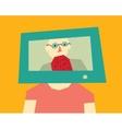 Man head tv color vector image