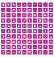 100 war icons set grunge pink vector image vector image
