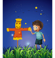 A boy and a scarecrow at the ricefield vector image vector image
