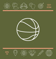 basketball ball line icon vector image