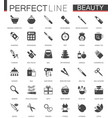 black classic web icons set beauty and cosmetics vector image
