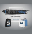 black friday blue sale banner with bags and frame vector image
