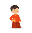 boy wearing red national costume of china colorful vector image vector image