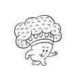 cartoon broccoli character jogging vector image vector image