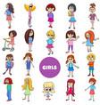cartoon kid girls characters large set vector image