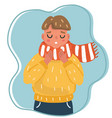 child has got flu and is sneezing vector image vector image