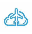 cloud and airplane logo vector image
