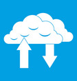clouds with arrows icon white vector image vector image