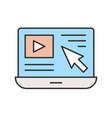 cursor arrow and video clip on laptop screen vector image