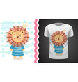 cute lion - idea for print t-shirt vector image vector image