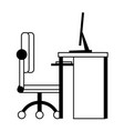 desk computer with chair office cartoon in black vector image vector image