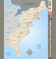east coast united states vector image vector image
