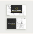 elegant marble texture business card design vector image vector image