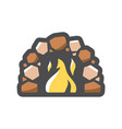 fireplace flame and stones icon cartoon vector image vector image