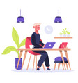 freelance worker man works on laptop at home vector image