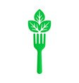 green fork and leaf like vegan food vector image vector image