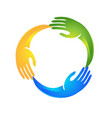 hands in a circle shape logo vector image
