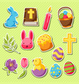 Happy easter set of decorative objects eggs and