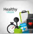 healthy lifestyle concept icons vector image vector image