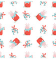 holiday seamless pattern with cute cows and vector image