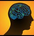 human head and ill brain vector image